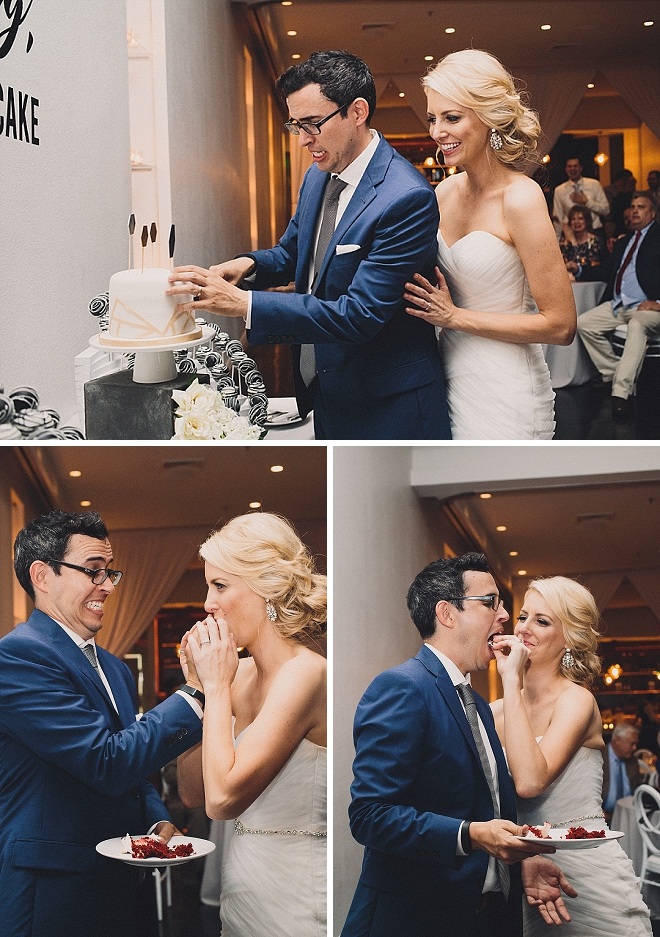 Sweet snap of this couple cutting cake as Mr. and Mrs!