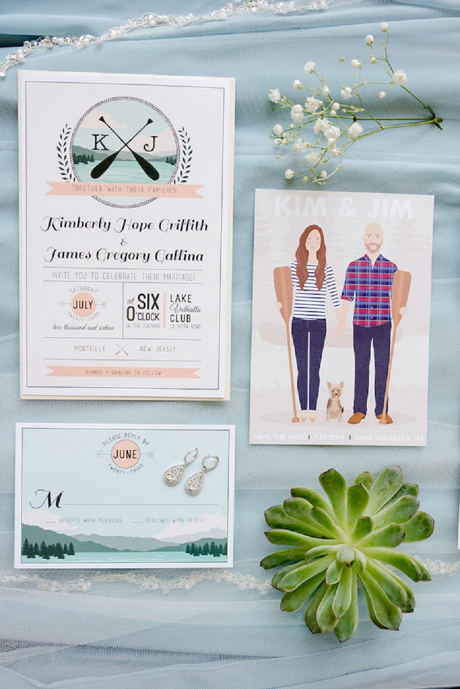We love these amazing invitation suite for this couple's lakeside wedding!