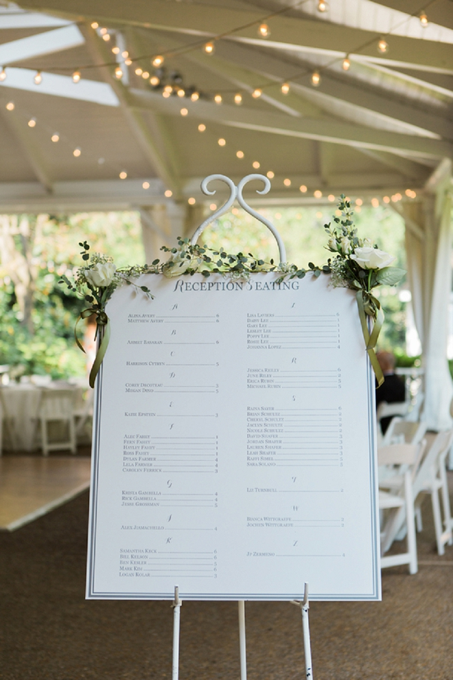 Darling seating chart for this dreamy reception!
