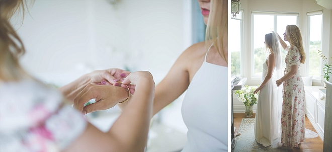 We are in LOVE with this snap of the Bride getting ready!