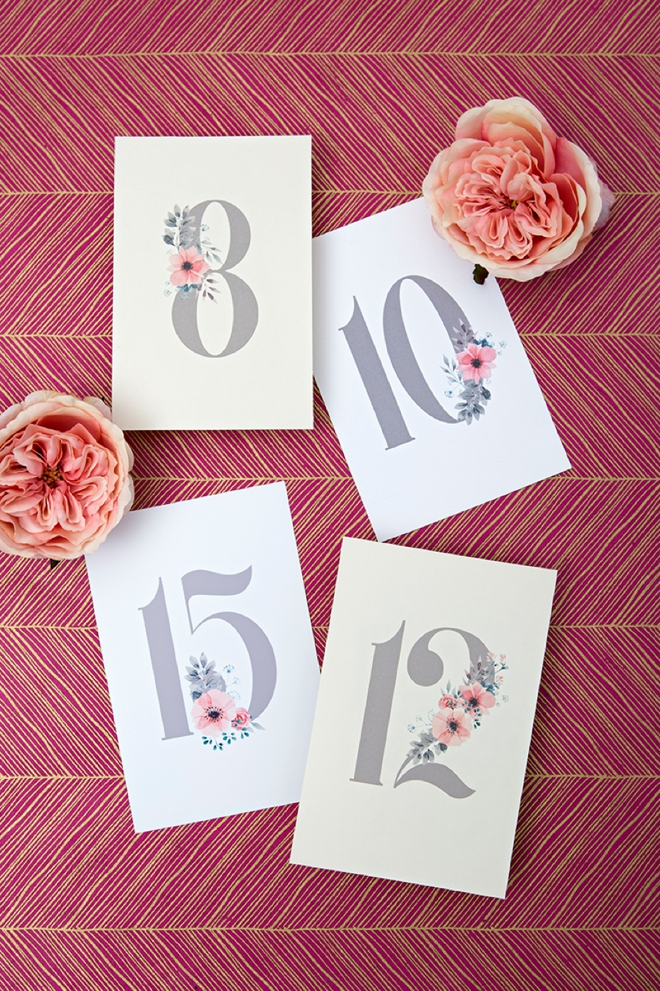How cute are these floral free printable wedding table numbers!?