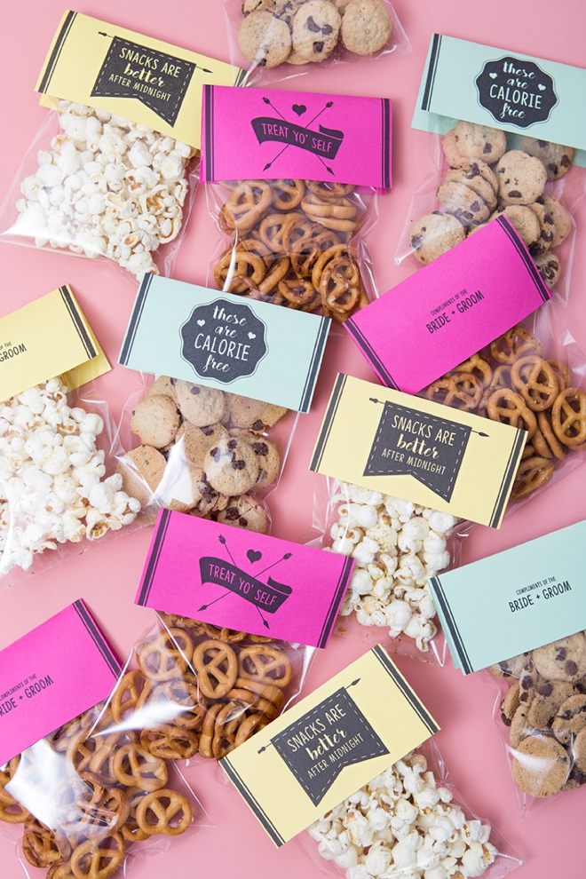 Use any snack and any color paper to make these awesome wedding snack gifts!