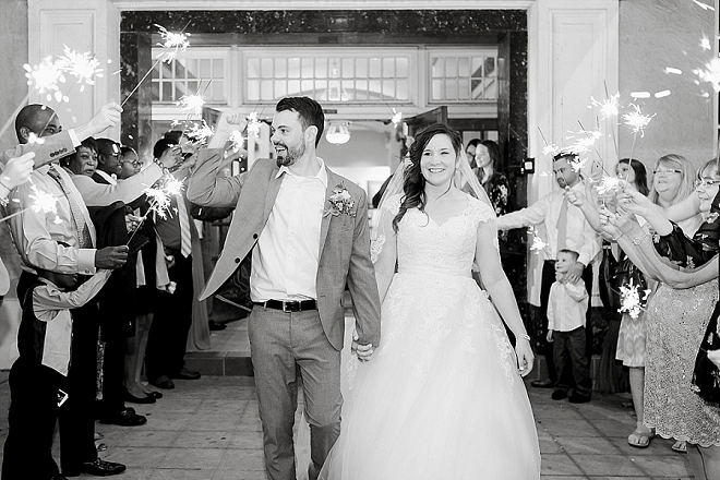 In LOVE with this darling couple's sparkler exit as Mr. and Mrs!