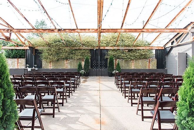 We love this couple's urban outdoor ceremony!