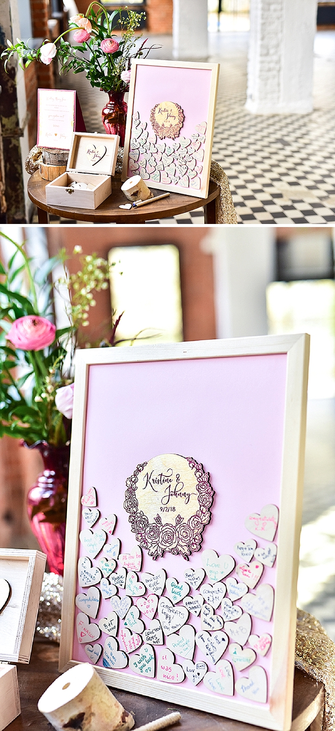 We're loving this cute and personalized wooden guest book idea!