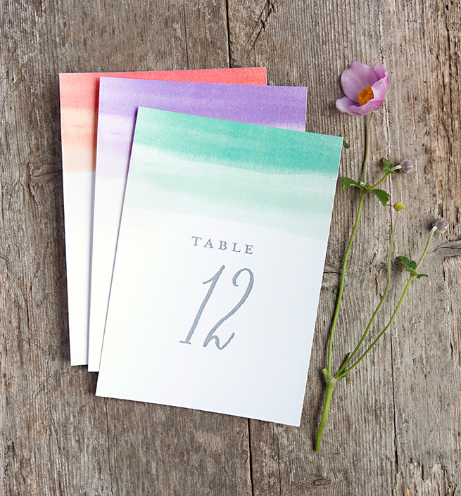 Free printable wedding watercolor table numbers.  So easy and simple!