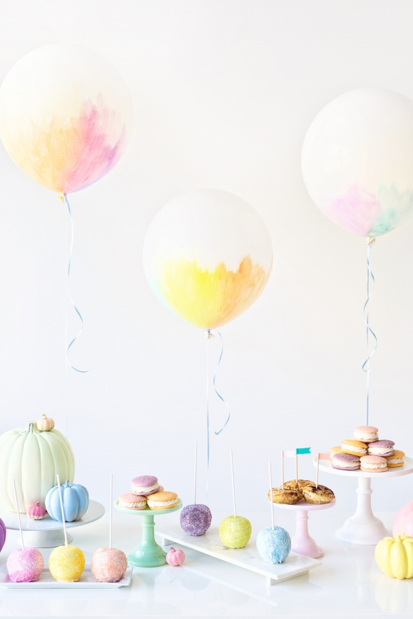 Love these pastel painted balloons for a wedding or baby shower.