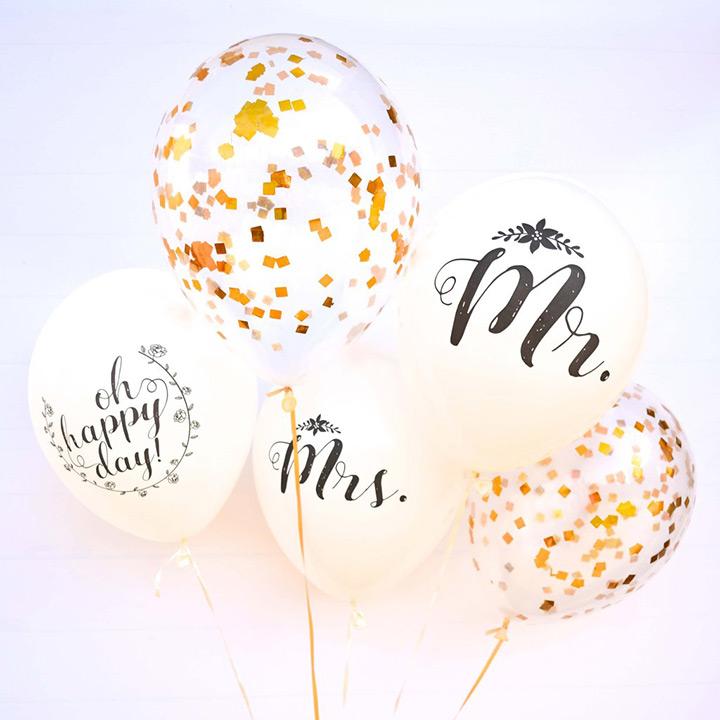 Senhor e Sra. Balões com balões de confete de ouro. Idéia de decoração do casamento?
