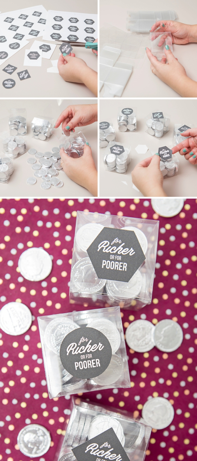Print out these labels for free to make your own for richer or for poorer wedding favors!