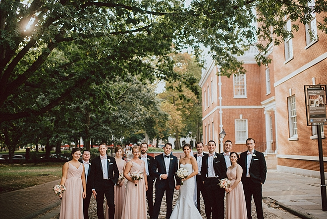 Gorgeous couple and their stunning wedding party in downtown Philly!
