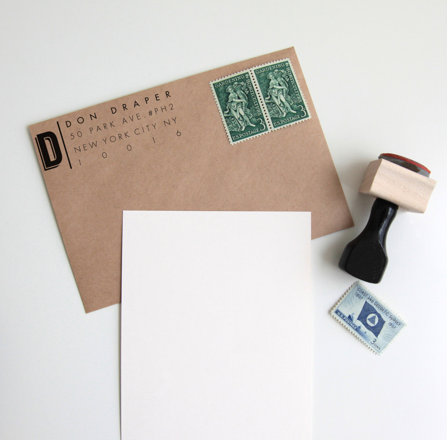 Custom return address stamp from Hunter & Co. Designs