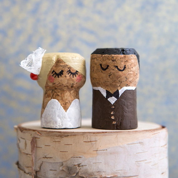 You HAVE To See These DIY Painted Champagne Cork Bride
