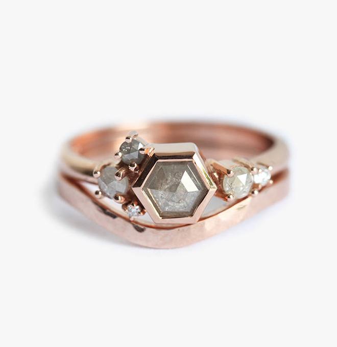 Gray Diamond and Rose Gold Wedding Set