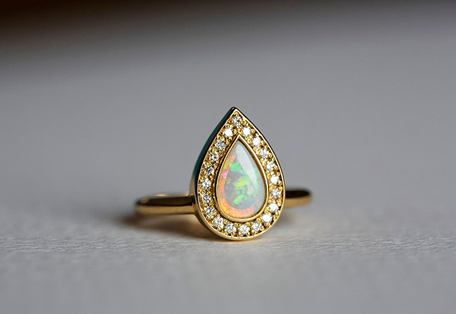 Pear Shaped Moonstone engagement ring