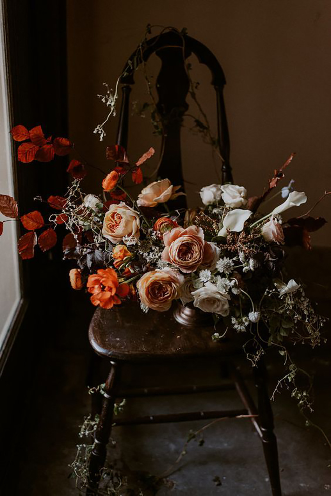 Moody and peach fall bridal bouquet.