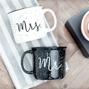 Mr and Mrs camping mugs by Frankie and Claude Shop