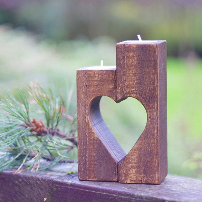 Rustic heart candle holder by Wood Metamorphosis