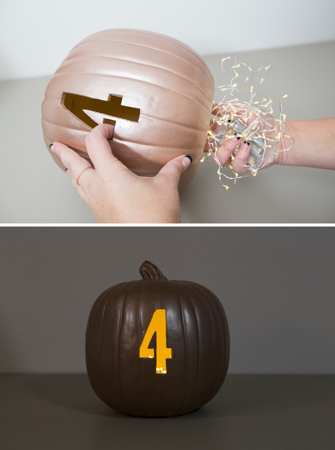 These DIY faux pumpkin table numbers are brilliant!
