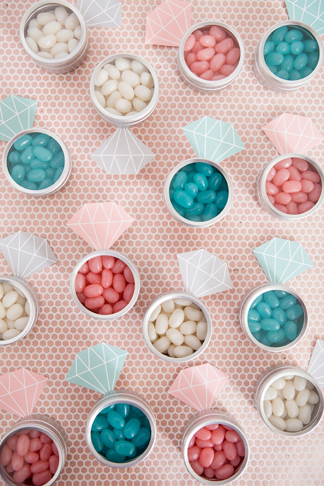OMG, these jelly bean diamond ring favors are the cutest!