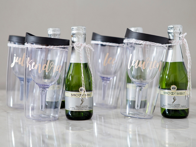 These DIY bridesmaid wine tumblers are the cutest!!