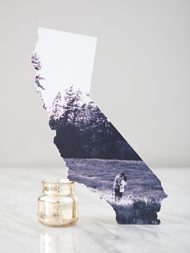 These DIY wedding photo state cutouts are the cutest!!