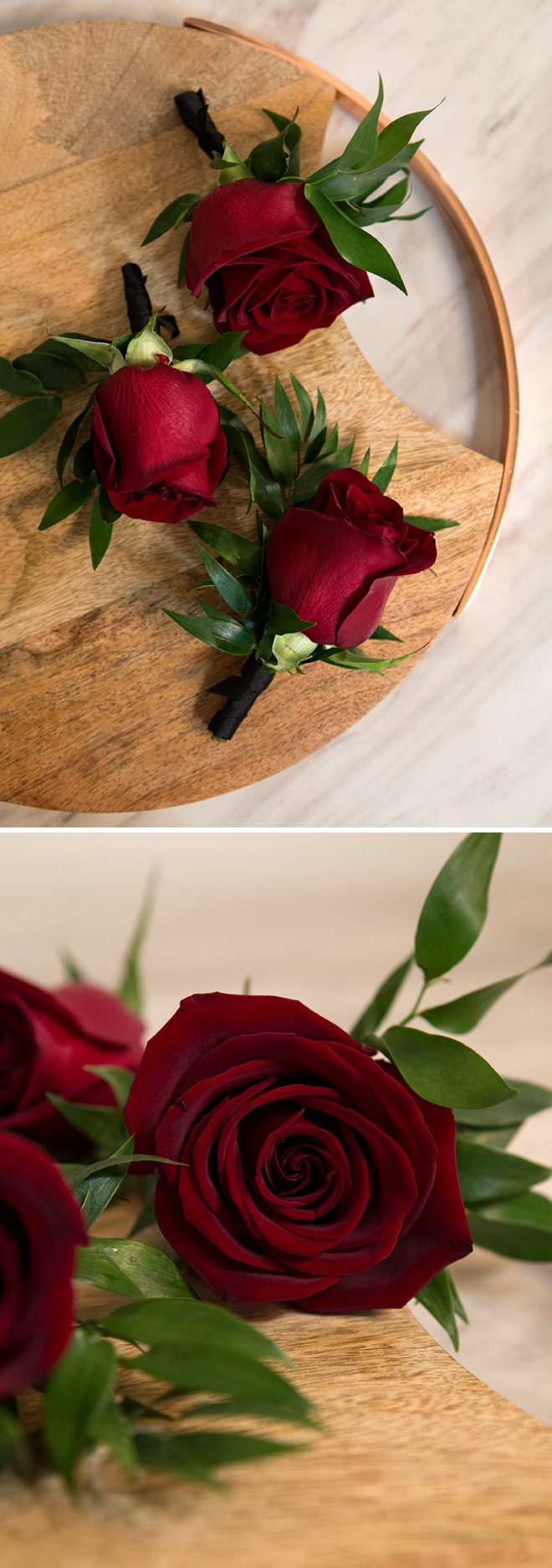 Gorgeous boutonnieres made with Black Magic red roses!