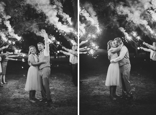 This couple opted for a big sparkler exit at their backyard wedding!