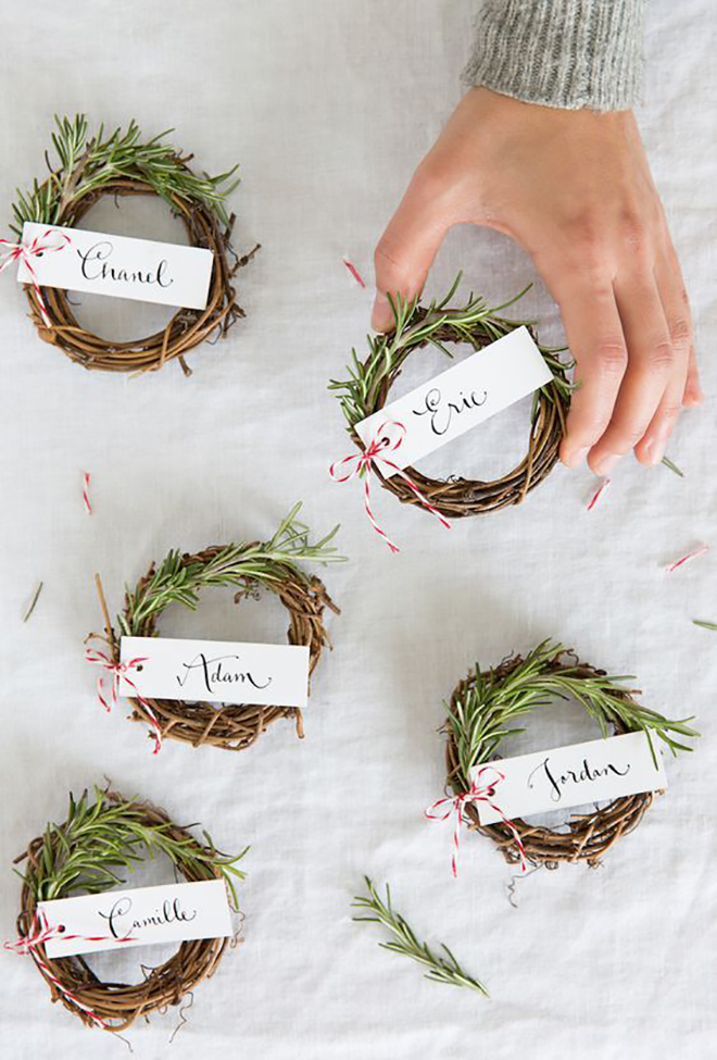 How about tiny darling wreath escort cards?