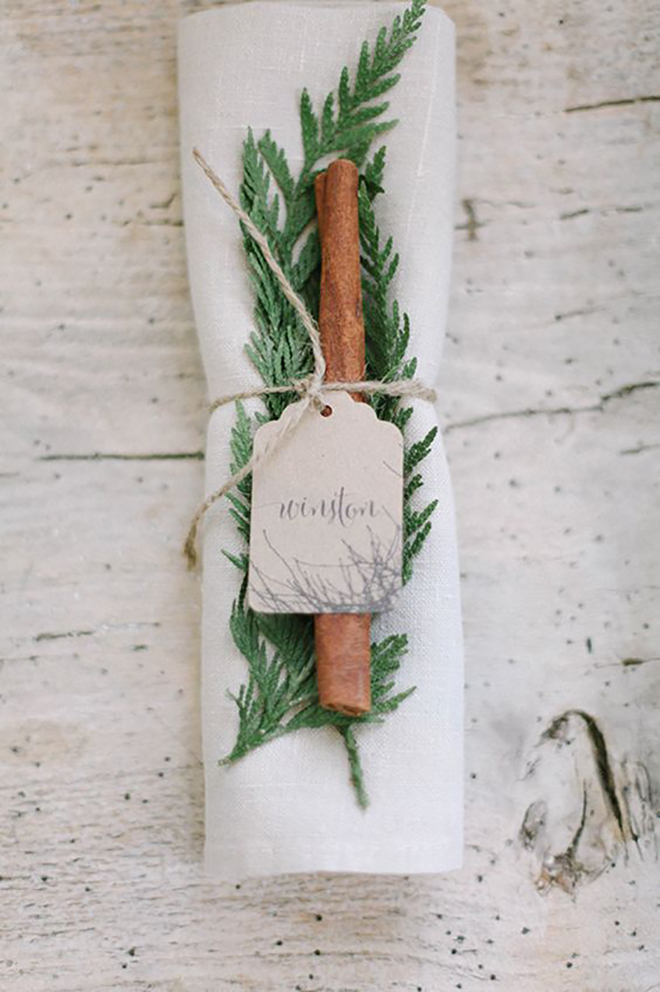 A cinnamon stick is an unexpected touch of holiday magic.