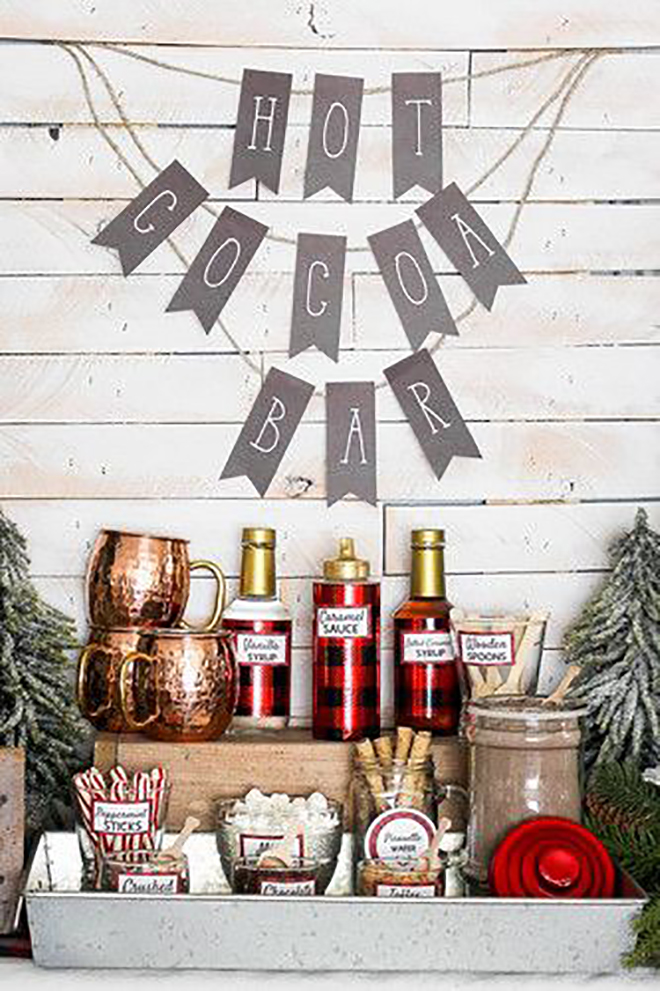 Warm up your guests with a hot cocoa bar.