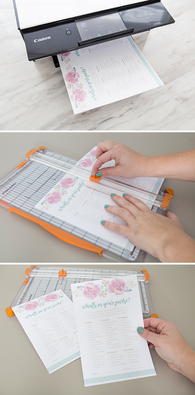 The cutest FREE printable What's In Your Purse shower game!