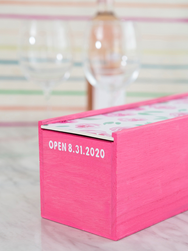 Personalize your own wine box to keep a bottle in for your first anniversary!