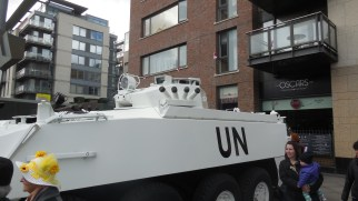 I thought UN vehicles in a military parade was a touch ironic