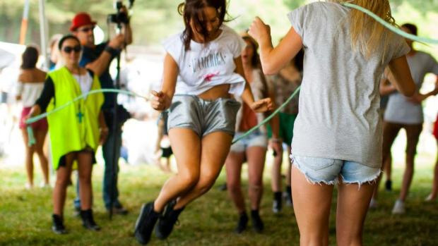 skipping rope at music festival