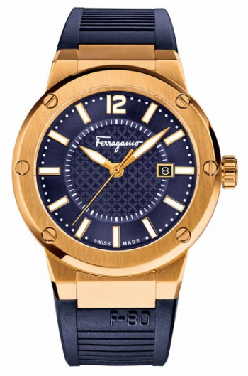 4. ferragamo-blue-goldtone-stainless-steel-rubber-strap-watch