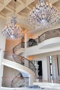 majestic chandliers adorn the home