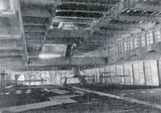 Interior of main block during construction, circa 1965