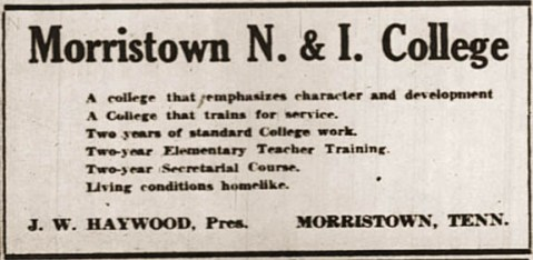 Morristown N. & I. College advertisement, circa 1939