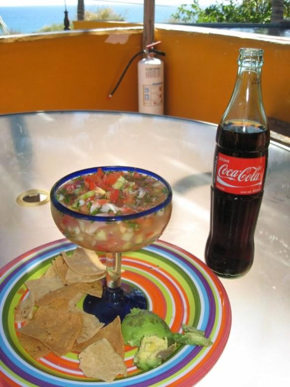 Ceviche and Mexican Coca-Cola; Yum!