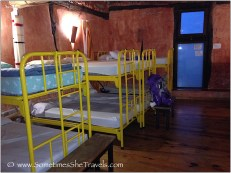 Yellow metal bunk beds