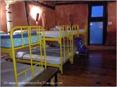 Yellow metal bunk beds