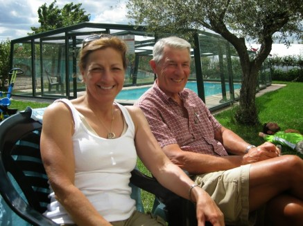 Suzanne and another member of our Camino Family, Clarence, relaxing by the pool at Albergue Cuatro Cantones in Belorado