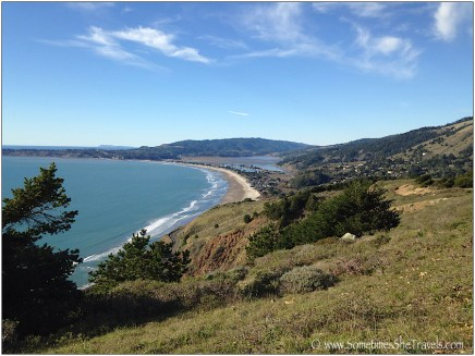 From foreground to background: Stinson Beach, Bolinas, and way in the background, Pt. Reyes