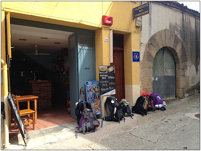 Typical sight: backpacks lined up outside a restaurant.