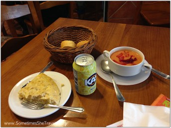 Mmm. Tortilla, Kas Limón, and gazpacho, which seemed to be rare in this region of Spain.