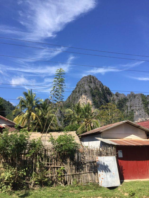 Buildings and Karsts in Vang Vieng, Laos.
