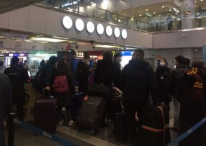 A group body temperature check, Beijing airport