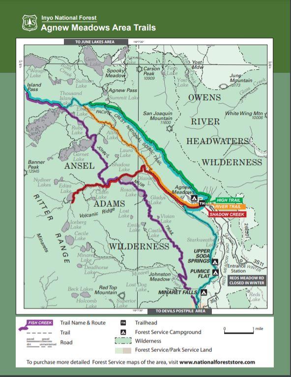 Agnew Meadow Area Trail Map | USFS