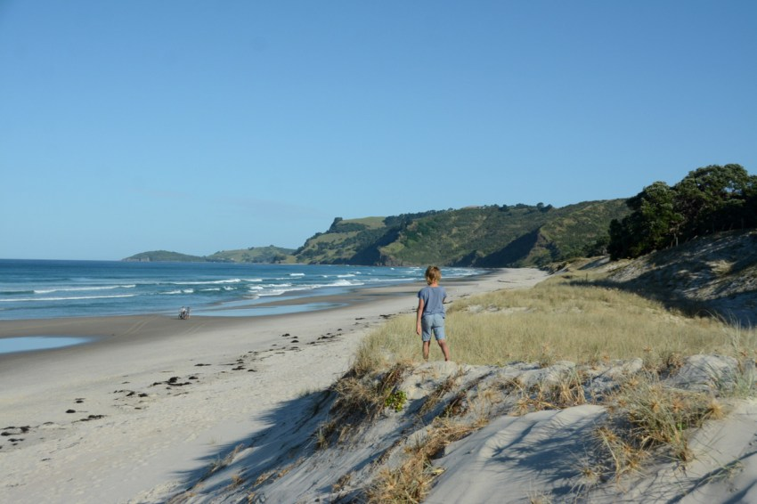 exploring at Pakiri Beach