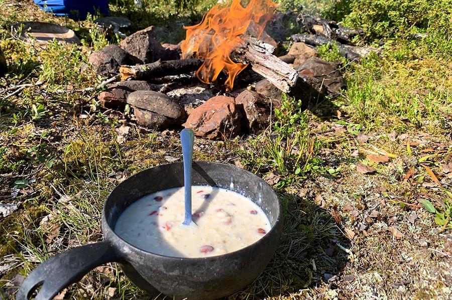Cani-hiking in Lapland - Vegan porridge ontbijt